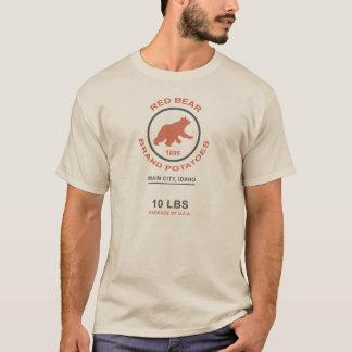 Saco de la patata del vintage (marca roja del oso) camiseta