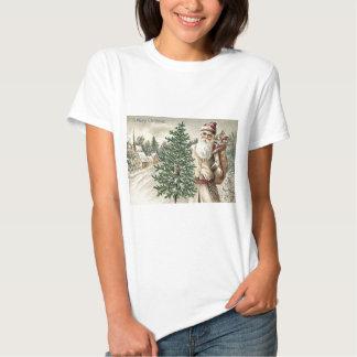 Saco del árbol de navidad de Papá Noel de iglesia Camisetas