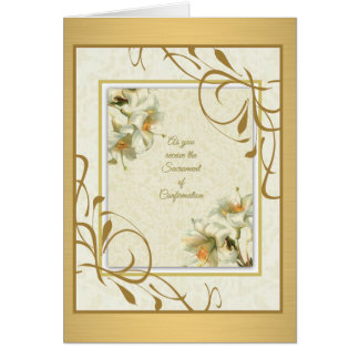 Sacramento de la decoración del oro de los lirios tarjeta