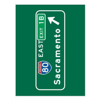 Sacramento, señal de tráfico de CA Tarjetas Postales