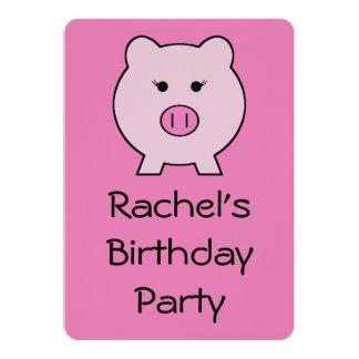 Sadie el cerdo rosado invitación 12,7 x 17,8 cm