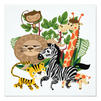 Safari animal invitacion personal