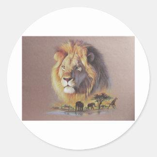 Safari del león pegatina redonda