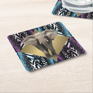 Safari elegante con el elefante posavasos cuadrado de papel