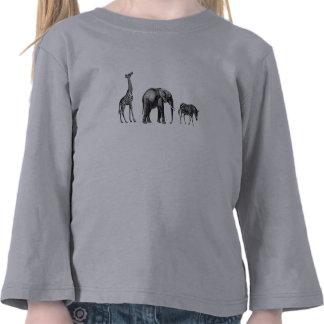 Safari sofisticado, jirafa, elefante y cebra camiseta