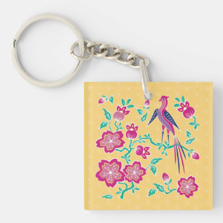 Sakura Floral Batik Square Acrylic Keychain 2