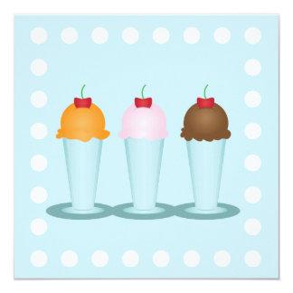 Sala de helado invitación 13,3 cm x 13,3cm