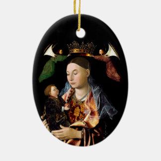 Salar Madonna y al niño de Cristo Adorno De Cerámica