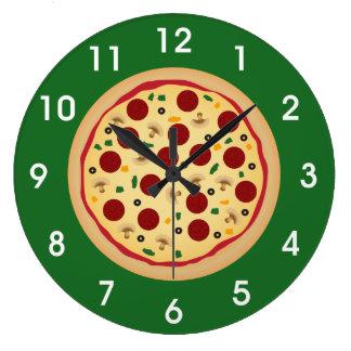Salchichones de la diversión y pizza del Veggie Reloj Redondo Grande