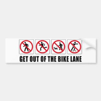 Salga del carril de la bici pegatina para coche