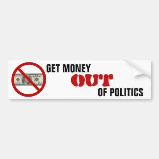 Salga el dinero de política etiqueta de parachoque