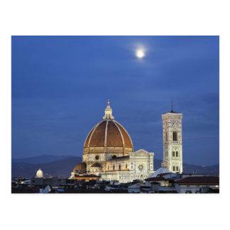 Salida de la luna y catedral de Florencia, di de Postal