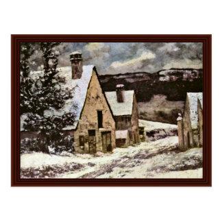 Salida del pueblo en invierno de Courbet Gustavo Tarjeta Postal