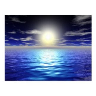 Salida del sol azul postal