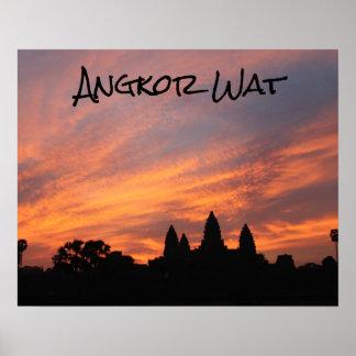 Salida del sol de Angkor Wat, Siem Reap, Camboya Póster