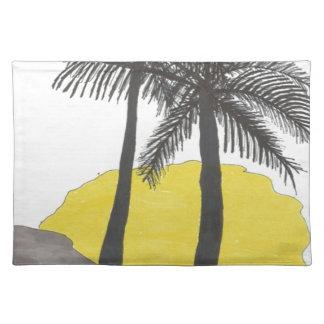 Salida del sol de la palmera salvamanteles