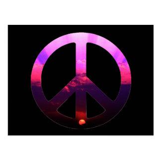 Salida del sol del signo de la paz postal