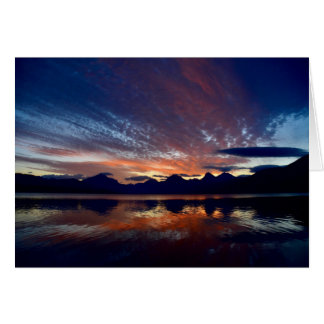 Salida del sol en el lago McDonald Tarjeta De Felicitación