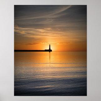 Salida del sol en el poster/la impresión de Roker