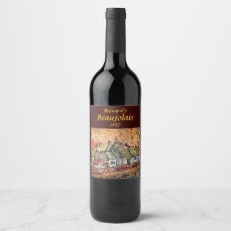 Salida del sol en la etiqueta rústica del vino del