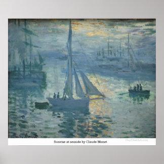 Salida del sol en la playa de Claude Monet Póster