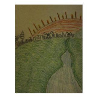 Salida del sol en lápiz coloreado postal