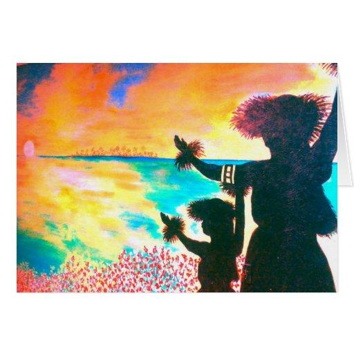 Salida del sol hawaiana Notecard de Hula Felicitación