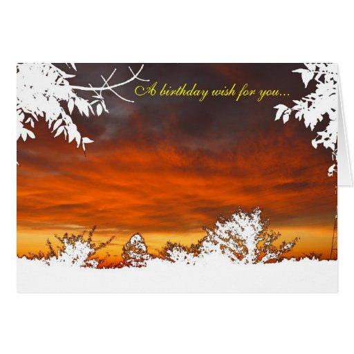 Salida del sol/puesta del sol - un deseo del cumpl tarjetón