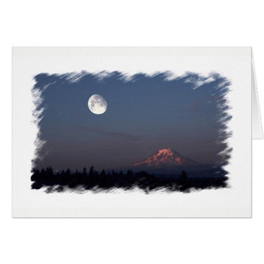 Salida del sol y salida de la luna sobre el Monte Tarjeta De Felicitación