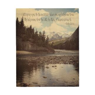 Salmo 121 de las montañas impresión en madera