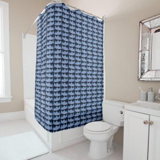Salmones azules modelados cortina de baño