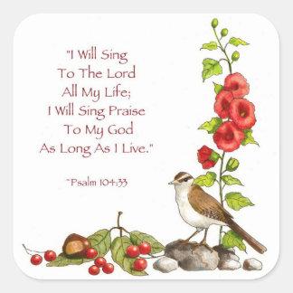 Salmos: Biblia: Dibujo de lápiz del color: Pegatina Cuadrada