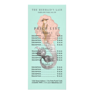 Salón costero femenino de la sirena elegante tarjeta publicitaria