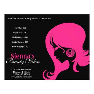 Salón de belleza de color rosa oscuro flyer personalizado