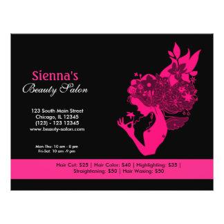 Salón de belleza (de color rosa oscuro) folleto 21,6 x 28 cm