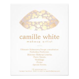 Salón de belleza de los labios del oro del artista folleto 11,4 x 14,2 cm