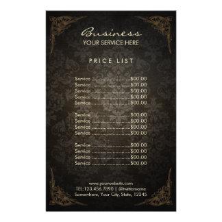 Salón de belleza enmarcado vintage del damasco de folleto 14 x 21,6 cm