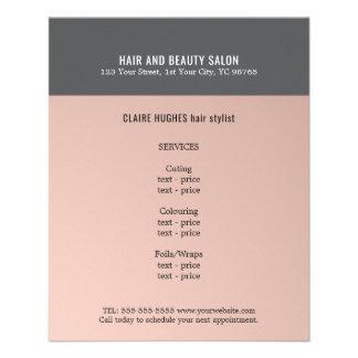 Salón de belleza gris color de rosa oscuro flyer