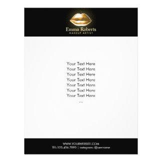 Salón de belleza moderno de los labios del oro del folleto 21,6 x 28 cm