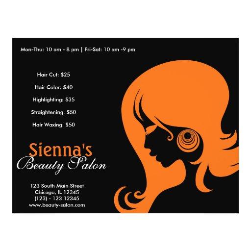 Salón de belleza (naranja) tarjetas publicitarias