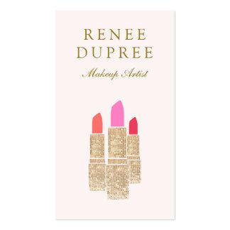 Salón de belleza rosado del artista de maquillaje tarjetas de visita