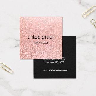 Salón de belleza rosado moderno lindo del brillo tarjeta de visita cuadrada