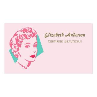 Salón de belleza rosado retro del Beautician de la Tarjetas De Visita