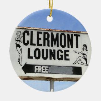 Salón de Clermont, Atlanta, Georgia, Felices Adorno Navideño Redondo De Cerámica