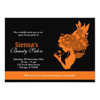 Salón de la gran inauguración (naranja) invitación 12,7 x 17,8 cm