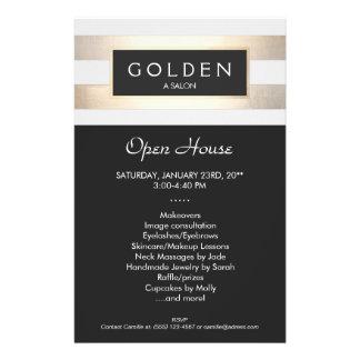 Salón de pelo del oro elegante y balneario rayados folleto 14 x 21,6 cm