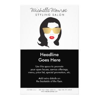 Salón de pelo, estilista, aviador del chica de la folleto 14 x 21,6 cm