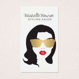 Salón de pelo, estilista, chica de la belleza tarjeta de visita