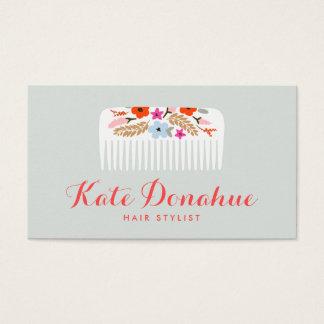 Salón de pelo floral del peine del estilista lindo tarjeta de visita