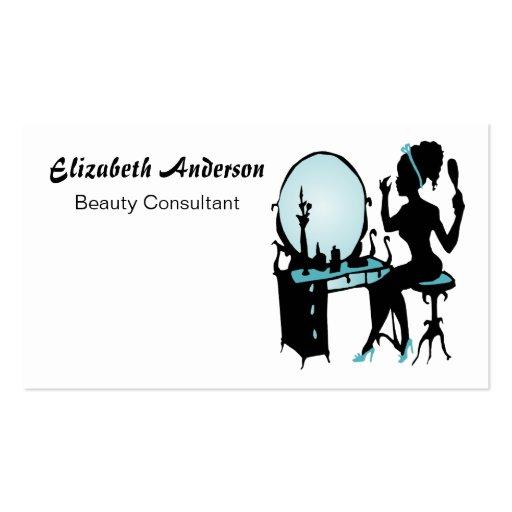 Salón de pelo negro femenino del trullo del consul plantillas de tarjetas personales